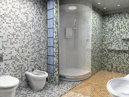 modern bathroom interior (3d rendering) photo