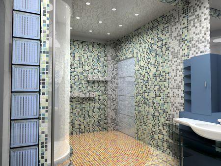 modern bathroom interior (3d rendering) Stock Photo - 1223047