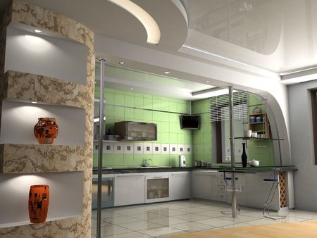condos: the modern kitchen interior design (3D rendering) Stock Photo