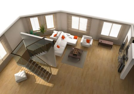 eclecticism: modern interior on the top view (private apartment 3d rendering) Stock Photo
