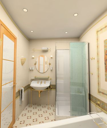 the modern bathroom interior(3D image) 스톡 콘텐츠