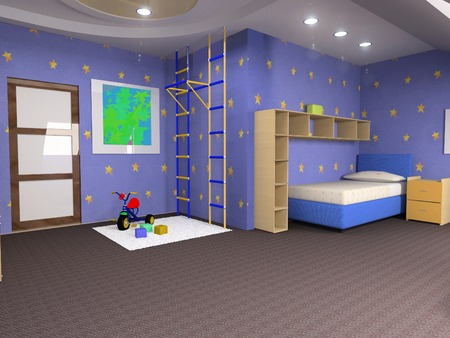 childroom modern design in loft apartment (3D image) Stock Photo - 1365040