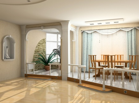 eclecticism: modern interior design in classic style (privat apartment 3d rendering)