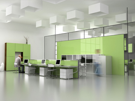 the modern office interior design (3d render) Stock Photo