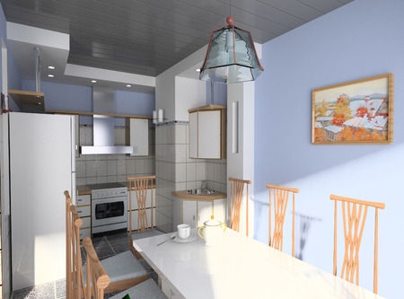 oven and range: the modern kitchen interior design (3D rendering) Stock Photo