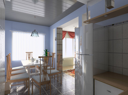 splashback: the modern kitchen interior design (3D rendering) Stock Photo