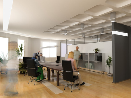 BUSY OFFICE: the modern office interior design (3d render) Stock Photo