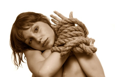 beaty: beaty girl with connected hands by string over the white