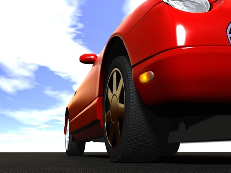 3d image: the modern car over the road sky background