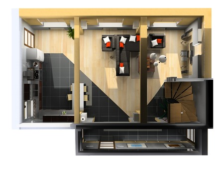 modern interior on the top view (private apartment 3d rendering) Stock Photo - 1497658