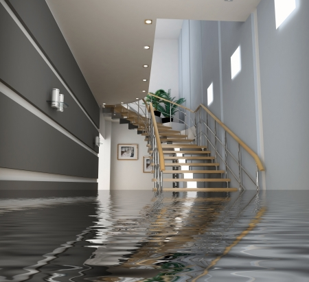 house flood: modern interior with stair under the water(3D)