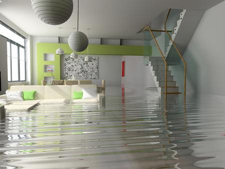 modernes Innere mit Treppe unter dem water(3D)