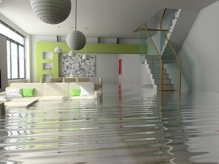 stair: modern interior with stair under the water(3D)