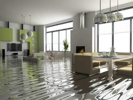 at home accident: modern interior with stair under the water(3D)