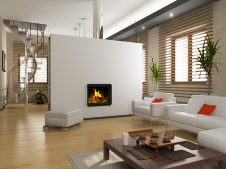 fireplace living room: the modern interior design with fireplace (3D) Stock Photo