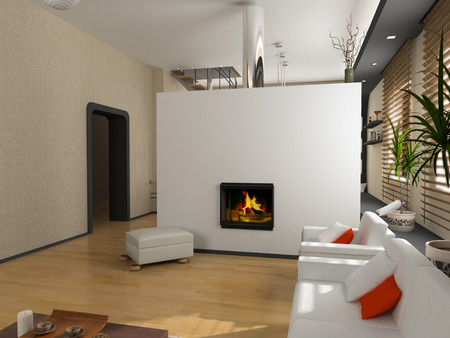 the modern interior design with fireplace (3D) Stock Photo - 1551809