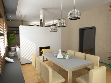 the modern inter design with fireplace (3D) Stock Photo - 1551811
