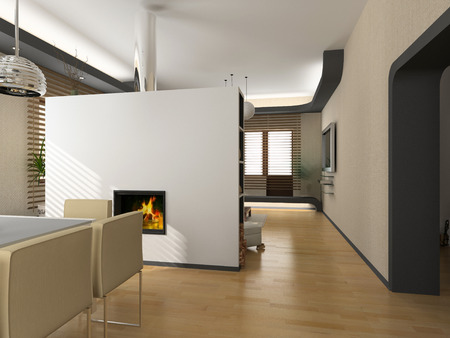 eclecticism: the modern interior design with fireplace (3D) Stock Photo