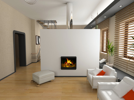 the modern interior design with fireplace (3D) Stock Photo - 1551807