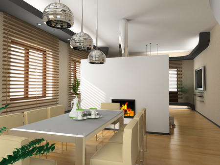 the modern interior design with fireplace (3D) Stock Photo - 1551810