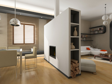 the modern interior design with fireplace (3D) Stock Photo - 1551808