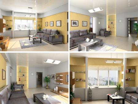eclecticism: modern interior image set (3D rendering)