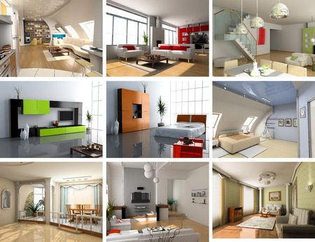 lofts: modern interiors images design set (computer generated image 3D)