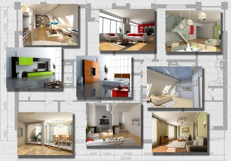 eclecticism: modern interior image set over architecture plan(3D rendering)