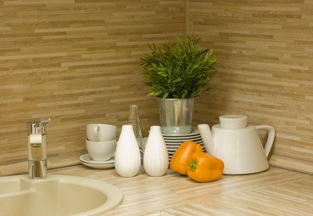 splashback: the modern kitchen interior close-up detail  photo