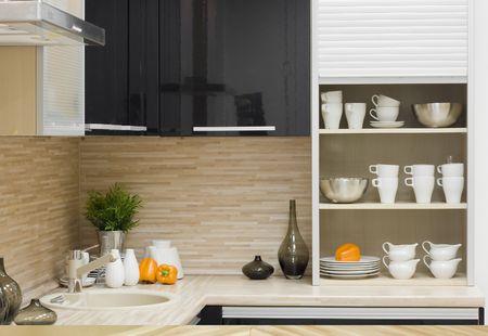 kitchen detail: the modern kitchen interior close-up detail  photo