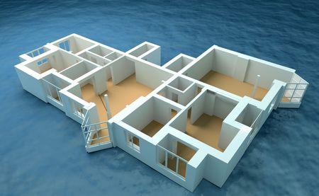 sea disaster: the modern flat sketch in sea (3d rendering) Stock Photo