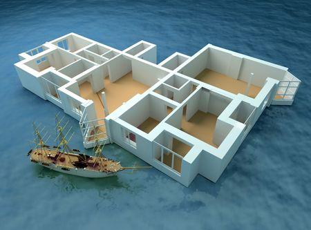 the modern flat sketch in sea (3d rendering) Stock Photo