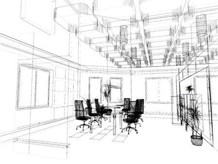 the modern office interior design sketch (3d render) Stock Photo