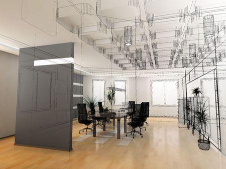 wireframe: the modern office interior design sketch (3d render) Stock Photo