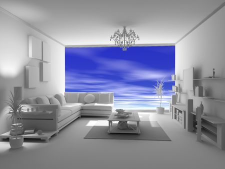 residences: the open blank interior over blue sky background (3D) Stock Photo
