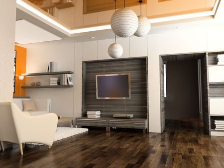modern interior design (computer generated image 3D) Stock Photo