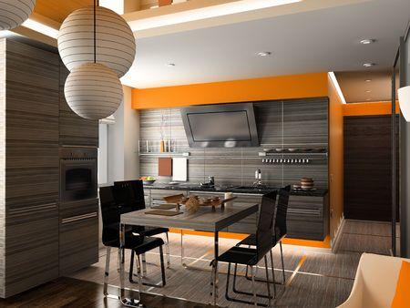 the modern kitchen interior design (3D rendering) Stock Photo - 2065992