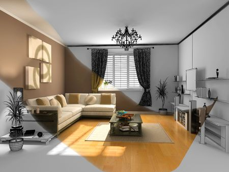 eclecticism: the modern interior sketch (wireframe rendering) Stock Photo