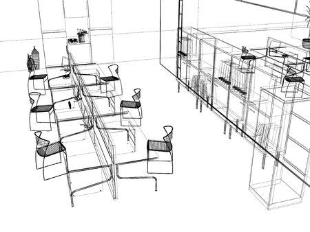 modern house sketch: the modern office interior design sketch (3d render) Stock Photo