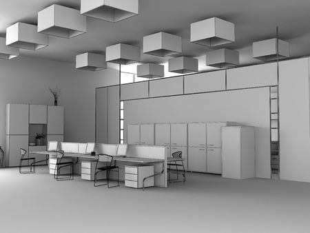 the modern office interior wire design sketch (3d render) Stock Photo