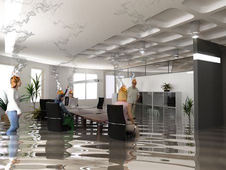 flood: the bussines extreme crisis situation (3D rendering)