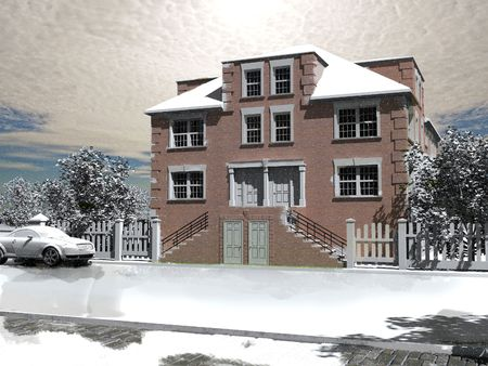 the first snow 3D exterior sketch rendering photo