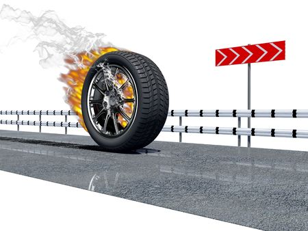 fire wheel on the asphalt road over the white background Stock Photo - 2121452