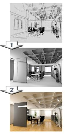 the stages of office interior CAD project photo