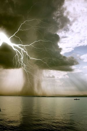 the begining of the  tornado over the lake Stock Photo - 2182322