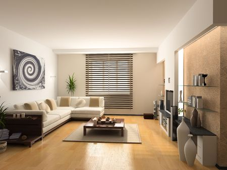 modern interior design (private apartment 3d rendering) photo