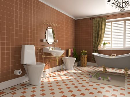 floor tiles: modern bathroom interior (3d rendering) Stock Photo