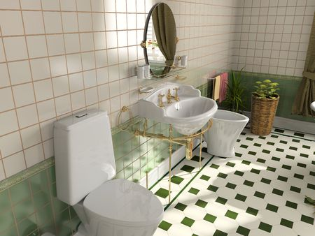 fixture: modern bathroom interior (3d rendering) Stock Photo