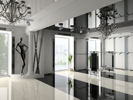 the modern shop interior design project(3D image)
