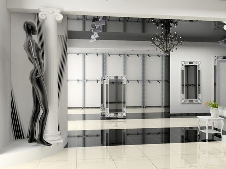 fashion boutique: the modern shop interior design project (3D image)